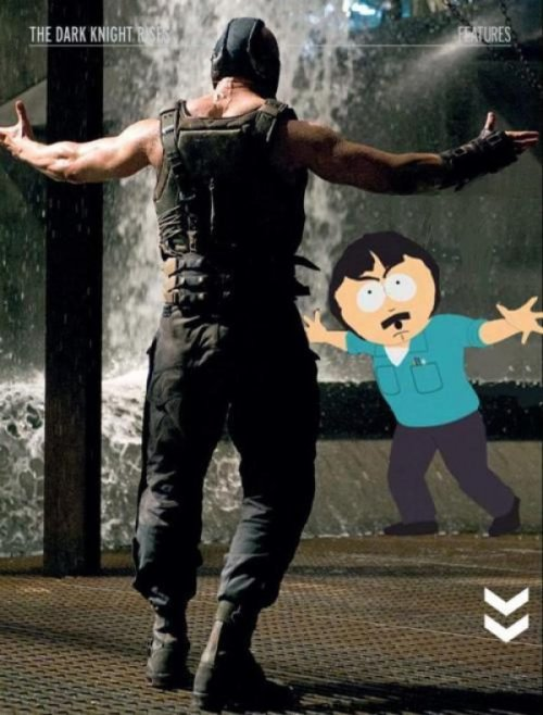 Randy Marsh vs. Bane Oh, what, you're just gonna blow up a football field? I'm sorry, I thought this was America! Is this America? I thought this was America!