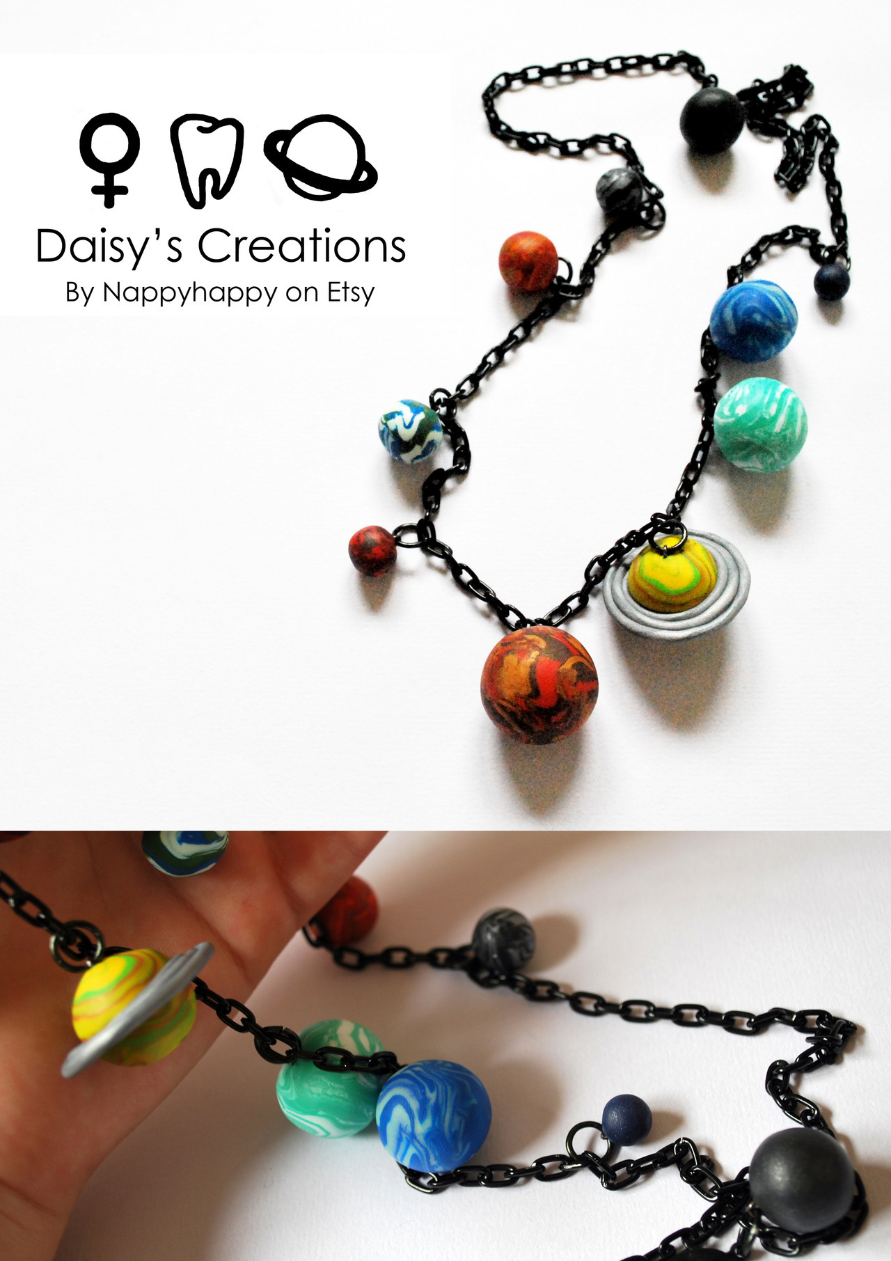 Solar System Necklaces are now available on jet black chain from Daisy's Creations!