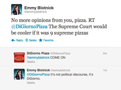 emmyblotnick:  My Twitter relationship with DiGiorno Pizza is really taking off.  This is amazing.