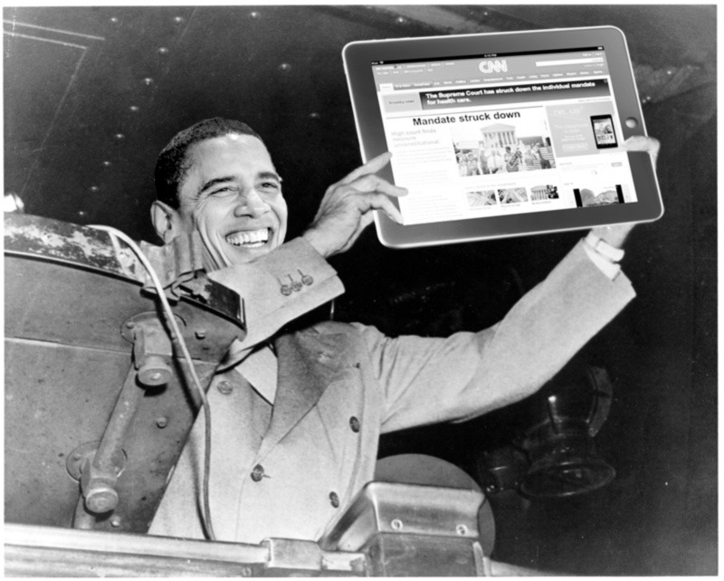 "President Obama's ""Dewey Defeats Truman"" moment. Man, CNN is never going to live this one down (original here; if anyone knows who made this Photoshop, let us know)."