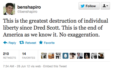 "mohandasgandhi:  fearandwar:  motherjones:  Yes, Breitbart editor-at-large, yes: guaranteeing that an insurance company can't turn down your hard-working self-employed boat-mechanic dad for his congenital arrhythmia, thus ensuring that an unpreventable medical incident won't bankrupt him and his future generations, is exactly like a discredited 1835 court opinion that black people are property. Yes, you nailed it. Nice job.  #headondesk  This is the greatest destruction of individual liberty for who? Rich white people?  ""This the end of America as we know it? No exaggeration."" Several responses have formed in my mind to this egregious remark but I'll go with this: The 'end' of America? Well if we're talking especially about the political, educational, social aspects of America this would actually be a very thing! What's being championed is actually quite positive. End of regressive and often arrogant policies intertwined into a national ethos of elitism and silent segregation.  The simple truth of the matter is both Obama and Romney are horrible choices of President. Neither are fit for office. But inevitably, one will win and the other will lose and America will continue on its decline of empire and global hegemony, the question is which President can uphold the empire for longest before the inevitable collapse comes along."