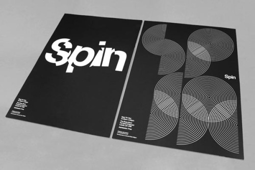 Poster Design Inspiration Double-sided poster for London-based studio Spin, designed by John Barton. Screenprinted onto Somerset Black 280gsm. via: WE AND THE COLORFacebook // Twitter // Google+ // Pinterest