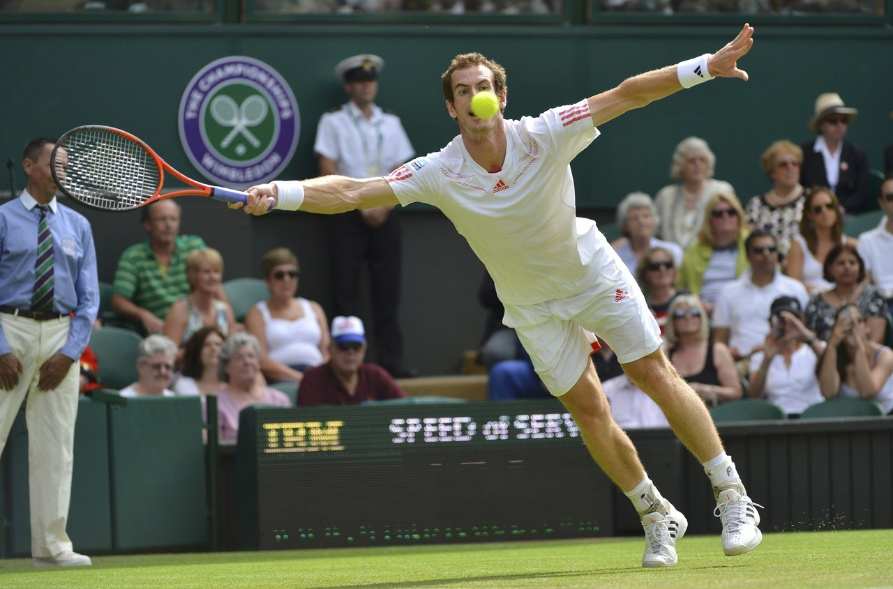 It's a bird! It's a plane! Oh wait, it's just Andy Murray. The No. 4 seed hits a return to Ivo Karlovic of Croatia during their men's singles tennis match at the Wimbledon tennis championships in London.