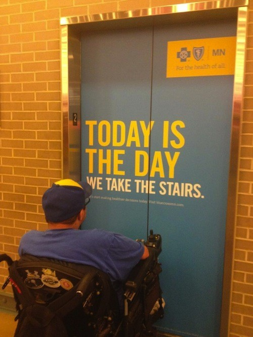 Proofreading is more than spelling. This elevator is a big jerk (via funnyordie).