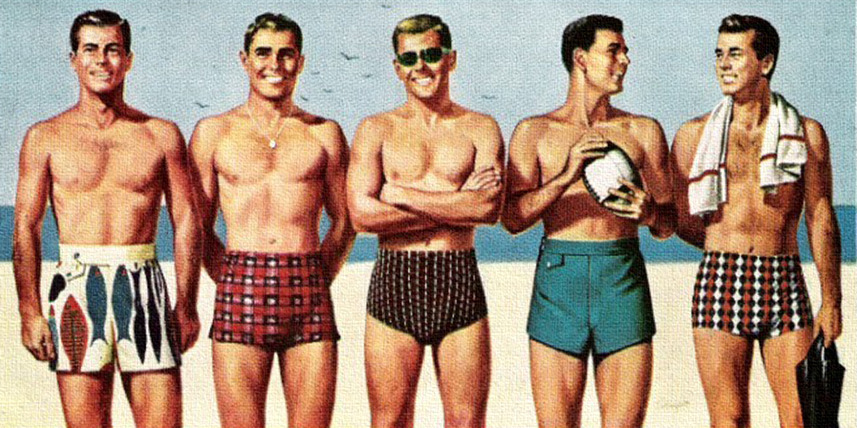 theniftyfifties:  Catalina Men's Swimsuits - 1955 advertisement