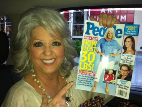 Paula Deen Back On Track: Promotes 30lb Weightloss In People Magazine When Paula announced she had diabetes, the reaction was a bit…well…ummm… 'DUH'. And it caused a bit of a scandal, despite not being a shock to anyone really. Afterall, we're talking about the butter queen. And her delicious unhealthy recipes had been criticized for years as being some of the most obesity causing choices on the block.  True: deep fried butter donuts are NOT healthy choices. But Paula's not the one force feeding them to America. If you choose to eat them, YOU choose to eat them. I found it funny that people called her hypocritical: she was not. She was open about what she was eating and the consequence of those choices (along with potential other factors: genetics, weight, stress, hormones, family history etc) was diabetes. It's not as though she was selling health food or low calorie fare. And while it took a long time for her to make changes after the diagnosis (3 years she kept it hidden), it's not something I begrudge her for. Personal health is a private matter, and it's possible she was in denial. Like many, MANY others.  Being accountable and taking responsibility for our choices is important on so many levels. I like that Paula's making different ones for herself now. The message is a good one: even if your choices haven't always been stellar, you remain in control of making positive changes for your body at any time. That's power. Claiming responsibility for our own choices empowers us.  While many begrudged the star, I simply viewed it as an opportunity for discussion. Paula is a person and, like millions of others, may not have taken her health seriously until illness reared it's ugly head. Everyday, thousands of people are diagnosed with heart disease, diabetes and other obesity related illnesses. Sometimes, that's the wake up call they need. And they're the lucky ones. They've been given a second chance.  In the spirit of second chances, I think it's commendable and important to celebrate Paula's efforts and let people everywhere know that it's never too late to make a change for the better! You are not defined by your past and can make healthier changes to better your life at any age, at any weight and in any circumstance.  Go Paula! You take care of yourself girl!  And let's lay off the buttered donuts for awhile. :) Read more via Blisstree.