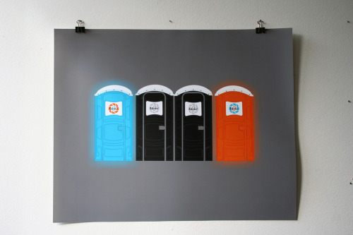 "The nerd part of me exists   it8bit:  Portal Potty Created by Kody Christian 16""x20"" digital prints over @Yetee Gallery."