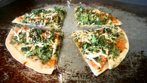 reblogged from learningvegan:  Brocolli Tortilla Pizza - 1 med flour tortilla - 1 T. hummus - loads of diced fresh broccoli - daiya and follow your heart cheese - basil Baked at 375 for 15 min.  Vegan cheese brand mixing is so badass. YOU NEVER KNOW WHAT MIGHT HAPPEN.