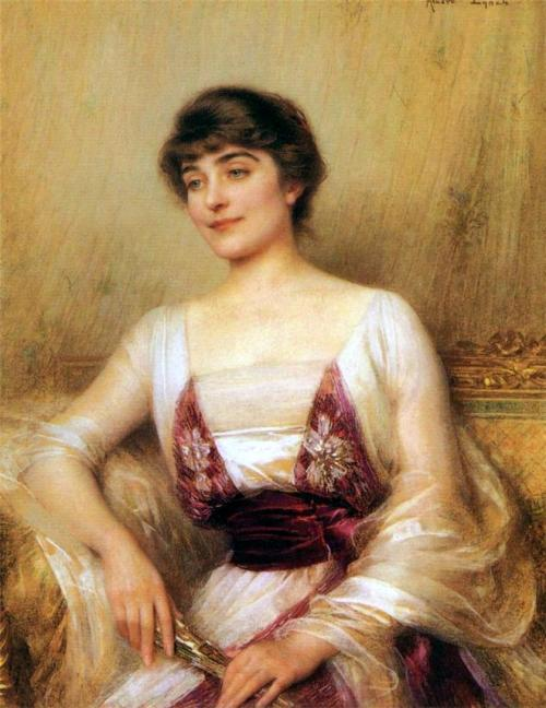 steelylaceribbon:  Albert Lynch, Portrait of a Countess (Lady with a Fan), (not dated, artist died 1912).