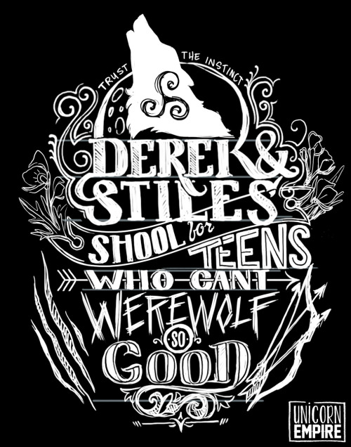 unicornempire:  Preview of my Teen Wolf design; metallic silver ink, of course! lol lost the c in school in my resizing. Brilliant!