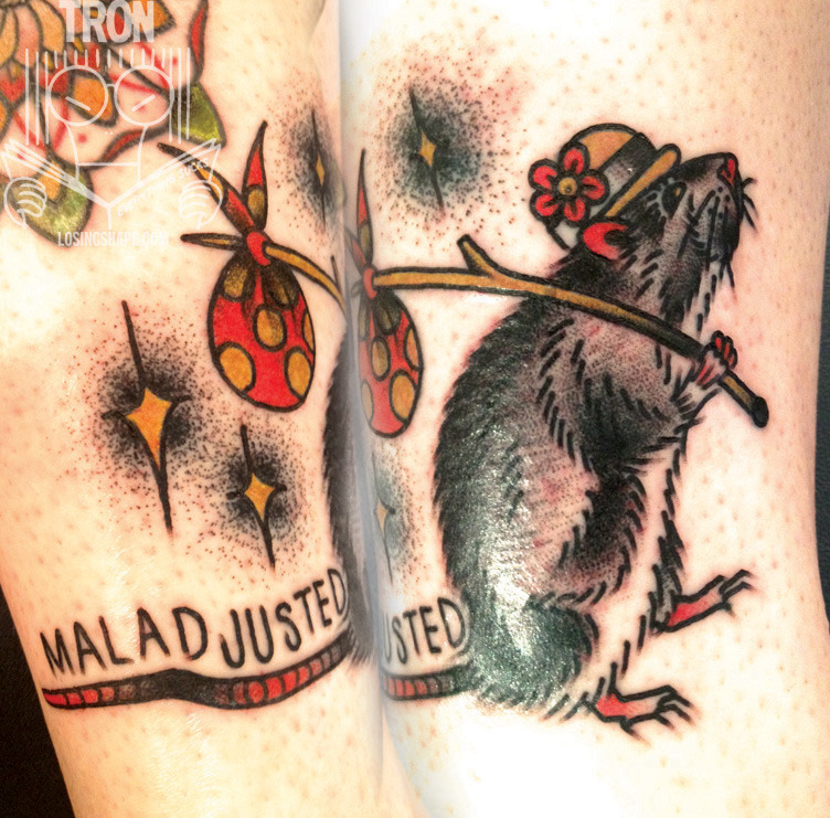 Super fun hobo rat/ Morrissey tattoo I did on Melisser last night. I LOVE doing Moz/Smiths tattoos!! Would always love to do more. Tron/Thicker Than Water