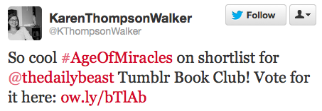 """Age of Miracles"" author Karen Thompson Walker tweets about our book club!"