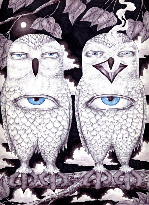 psychedelic-trips:  owl l+ eye symbolism. love it.
