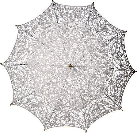 White Cotton Lace Parasol from Luna Bazaar   Price:$67.00  Item Number:UM5WH This vintage style parasol is made with white cotton lace. There is a matching liner in the inside middle to define the stunning color and protect more from the sun. The parasol is 31 inches in diameter and has a 25 inch stem with a carved wooden handle. The top is decorated with a wooden finial and the under carriage is metal. Our parasols are designed principally to provide shade from the sun. They can be used as colorful, protective fashion accessories on sunny days. They're also beautiful as home decor (they look especially good when backlit!) and as party and wedding decorations. More and more, people are using parasols as party and wedding favors-they provide comfort and fun to guests during outdoor summer celebrationis, and can be taken home as a memorable thank-you for the special day.  This can also be found in Ivory, Rose Quartz Pink, Cantaloupe, Kelly Green, and Turquoise.   I recommend browsing the site for their other umbrellas and parasols. The white one is the only one I'm looking at.