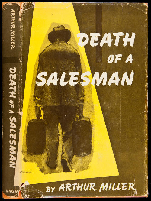 Author: 	Miller, Arthur Title: 	Death of a Salesman Place: 	New York Publisher: 	Viking Date: 	1949  Orange cloth, dust jacket. First Edition. First state of the dust jacket with the second S in Salesman touching Willy Loman's right arm in the front panel illustration, Miller's photograph on rear flap. Death of a Salesman was the first play to win all three major drama awards upon its opening in 1949: the New York Drama Critics Circle Award, the Tony Award, and the Pulitzer Prize.