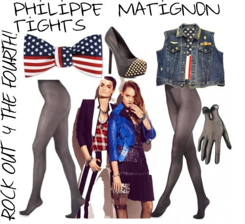 If you're feeling a bit grungy, try a denim look with flag accessories. Rock Chic Look for July 4th by pmhloves featuring  Dorella 40 collant  Noblesse 50 collant