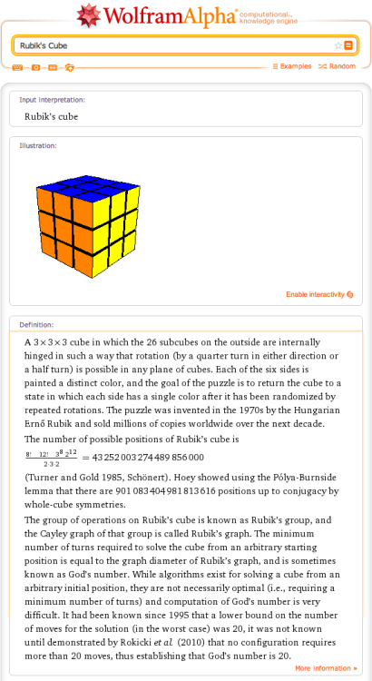 There are 43,252,003,274,489,856,000 possible positions of Rubik's cube.