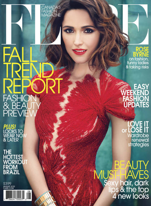 flarefashion:  Rose Byrne - August 2012 / Fashion Director: Elizabeth Cabral / Acting Art Director: Ben MacDonald / Photographer: Max Abadian On-set in New York with leading actress Rose Byrne for her first Canadian cover shoot.