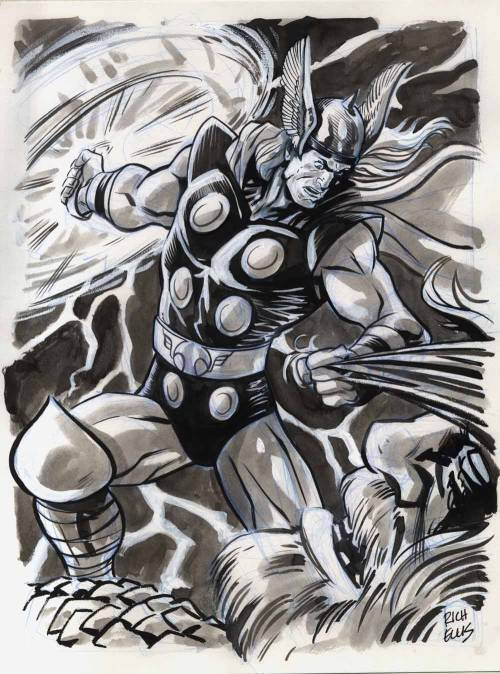 "While no one was looking, ""Memorial"" artist Rich Ellis drew Thor battling a giant. This was drawn in ink and grey wash over blue pencil. The original is available for sale at our Etsy store. You just know he's whaling on that big guy. WHALING!"