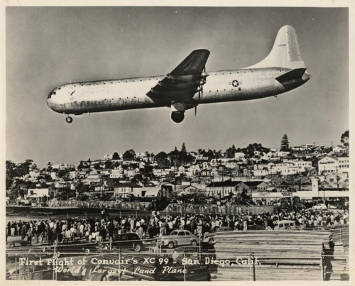 thenobelexperiment:  Convair's XC99 flight over San Diego. At the time it was the worlds largest land plane. San Diego, Ca 1947