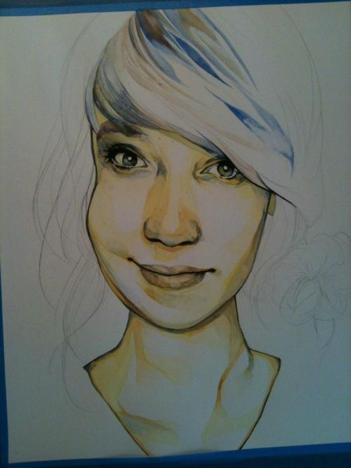 Megan WIP; watercolor on bristol