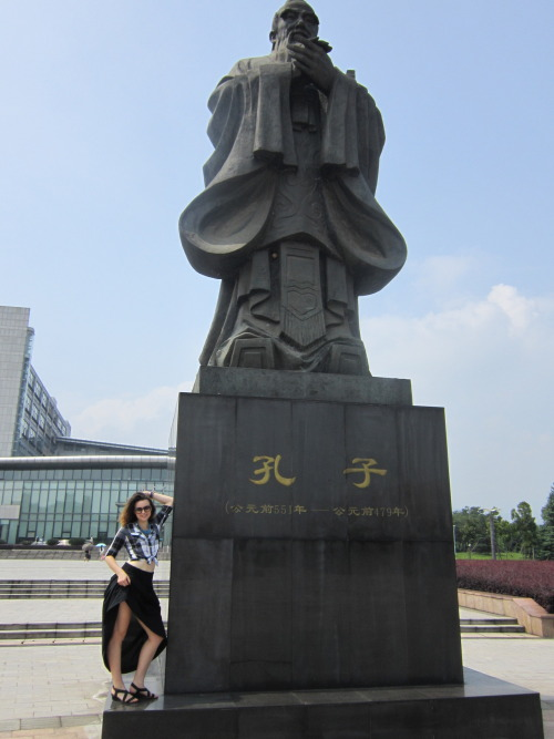 Posing up with Confucius to officially completing a year of study in China at Zhejiang Normal University. My last test was this morning on spoken Chinese. My teacher graded it in front of me, because the test is one-on-one with her, and I got a 91. Still waiting on my other three scores but now that exams are finished the adventures can begin.