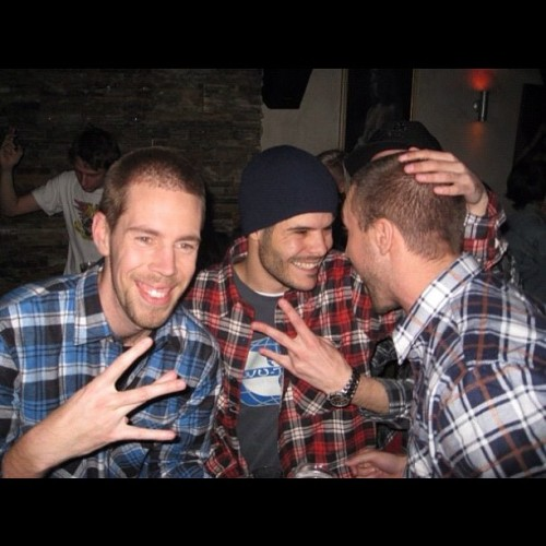 #Drugs are bad. @thomasqgunnz, @thrizz and I. 1995 #flannel #party @ La Di Da, 2009. #tbt #throwbackthursday #blokes #melbourne #australia #bickies #pingers #shelfing (Taken with Instagram)