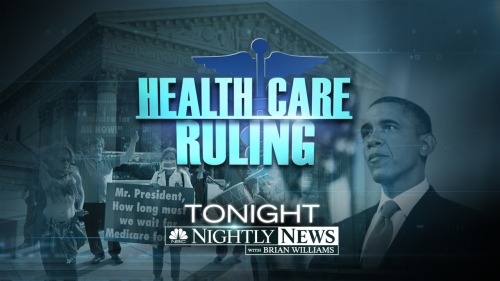 The President's health care law was upheld today by the Roberts court. Justice Correspondent Pete Williams reports on the ruling, Anne Thompson explains how it will affect nearly every American, and Chief Legal Correspondent Savannah Guthrie, Political Director and Chief White House Correspondent Chuck Todd and Meet the Press Moderator David Gregory join Brian to further analyze the decision and its implications in an election year.  During 21 News at Six, Bob Black and Leslie Barrett will have local reaction to the Supreme Court decision.
