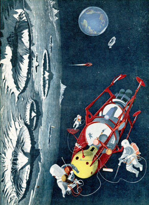 """This imaginary picture shows a space-crew inspecting their ship near the moon. The first man to stand on the moon may already have been born in this generation.""  — The Wonderful World by James Fisher; illustrations by Kempster and Evans (1954)"