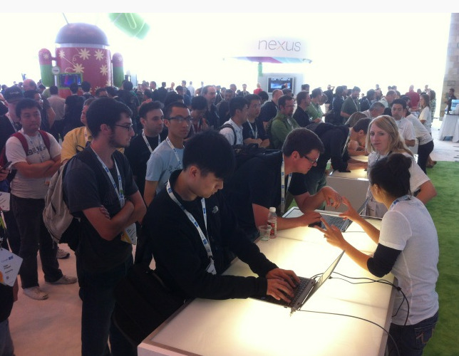 marketingland:  Android overseeing the line for Google Glass at Google I/O.