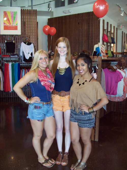 It's HOT outside! The National Harbor staff keeps it cool in denim cutoffs and Aztec prints.