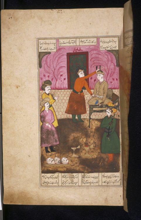 Historical Persian Miniature depicting the Story of Manoucher from Shahnameh