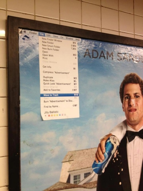 motherjones:  How do you culturejam a subway-station advertisement? This is how you culturejam a subway-station advertisement. Also, we reviewed this movie. Which means we had to watch it. Have mercy on us. (via Reddit via Buzzfeed)