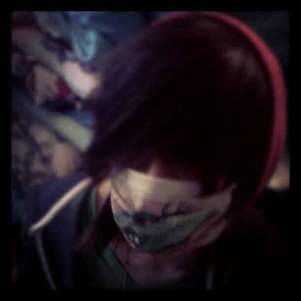 I drew on my friends mask it looks koolio (Taken with Instagram)