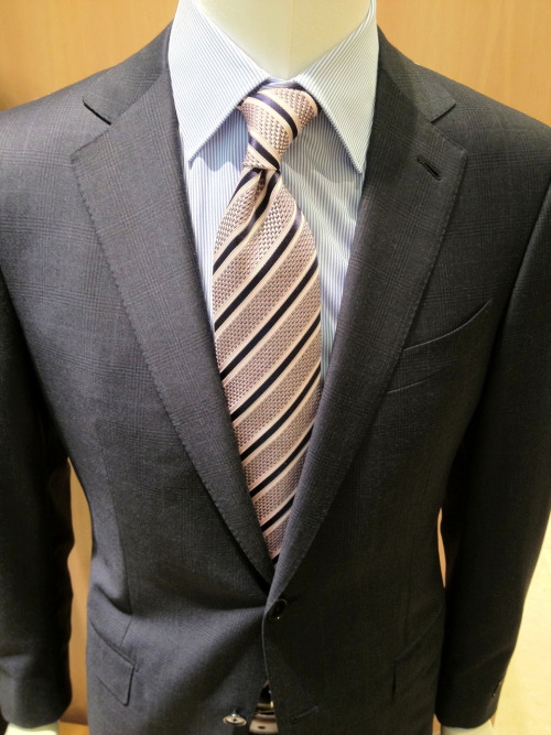 samatmarios:  Beautiful grey and blue windowpane Zegna Milano suit.