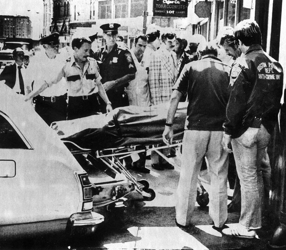 "FROM THE ARCHIVES | PHOTOS The Blackfriars Massacre  On June 28, 1978, five bodies were found in the basement of the Blackfriars Pub on Summer Street in Boston. The gangland-style killing would be known as the ""Blackfriars Massacre."" (GEORGE RIZER/GLOBE STAFF)"