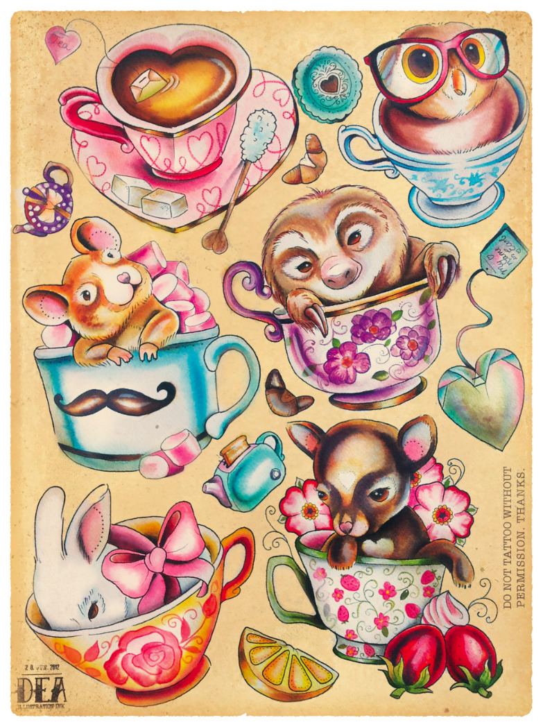vectorink:  Pups in cups :) All of them already taken, so please do not tattoo them, thank you:)