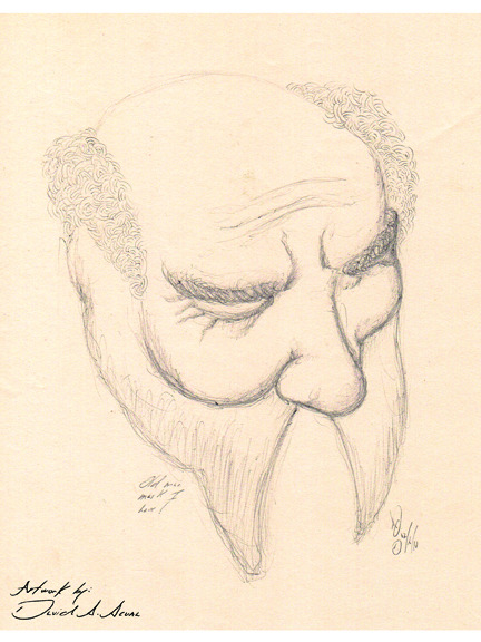 Sketch of an old man mask I have. 12/10, ballpoint pen on paper.