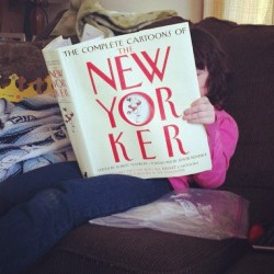 #ourphotoaday June 28: summer read. #newyorker #family #bigbookpluslittlepersonisfunny (Taken with Instagram)