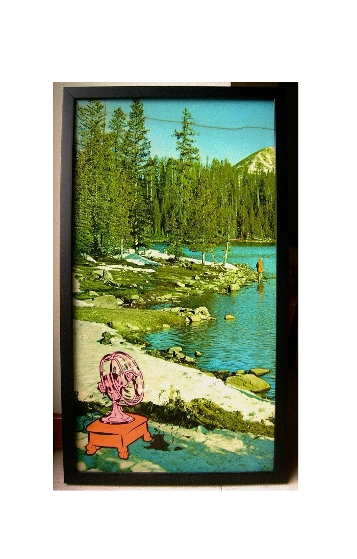 "dixon / ""Fresh Air""  / 37x66cm / enamel on found laminated image /  2008"