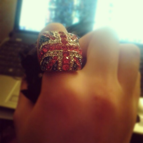 My favorite ring #fashion #britishflag #britain #UK #classy #sparkle #uklove (Taken with Instagram)