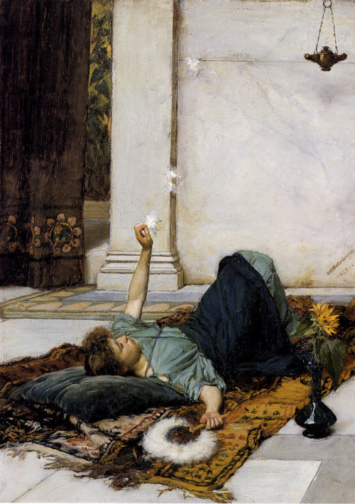 "John William Waterhouse, ""Dolce Far Niente"" (1879). Oil painting."