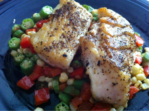 Here's a special #imadethis brag: Pan-seared halibut with a medley of bell peppers, local okra and sweet corn.