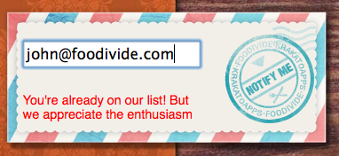 Foodivide - When you try to sign up for their newsletter with the same address twice, they appreciate the enthusiasm./via Shein