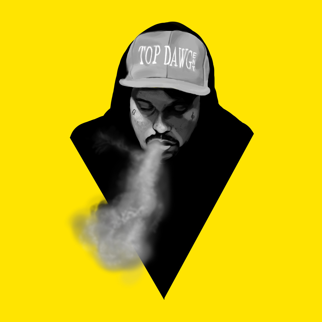 ScHoolboy Q digital painting. Adobe Photoshop. 1hr. Wacom tablet.