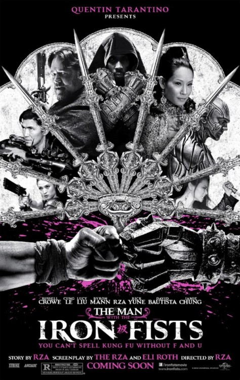 "Enjoy the first official poster for RZA and Eli Roth's kung fu homage ""The Man With the Iron Fists,"" featuring Russell Crowe and Lucy Liu: http://www.cityonfire.com/cleopatra-jones-wears-fists-of-iron/"