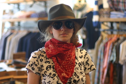portlanddrygoods:  Rori modelling the recent Buckaroo kit