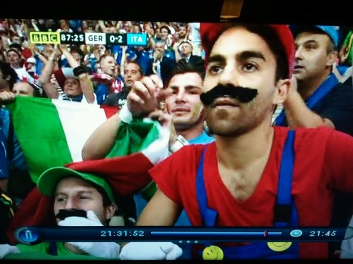 thegameboyera:  Super Mario Bros. at the Germany & Italy game!