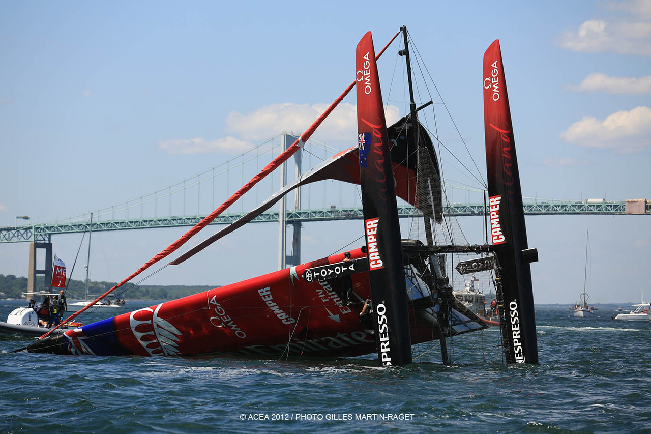 Emirates Team NZ capsizes