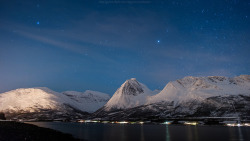 Balsfjord at night by CoolbieRe on Flickr.